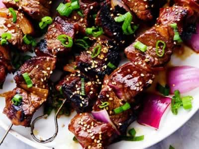 SAKE MISO MARINATED BEEF KABOBS WITH PEPPERCORN DIPPING SAUCE Dinner A'fare