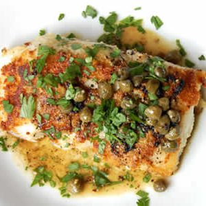 Lemon Butter Cod with White Wine and Capers