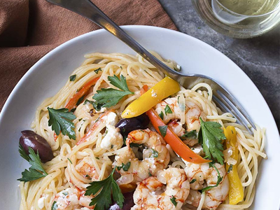 Greek Style Linguine with Shrimp and Feta