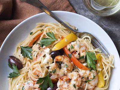 Greek Style Linguine with Shrimp and Feta