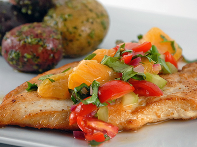 Chicken Paillards with Mandarin Orange Salsa