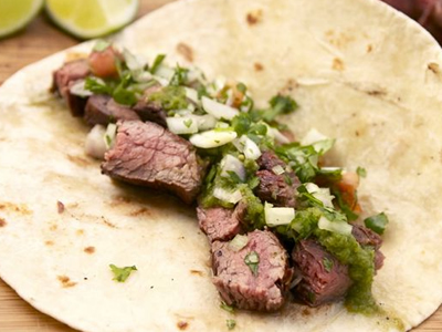 Steak Soft Tacos with Verde Sauce