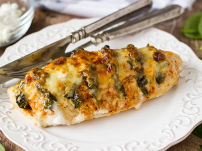Spinach and Artichoke Stuffed Hasselback Chicken